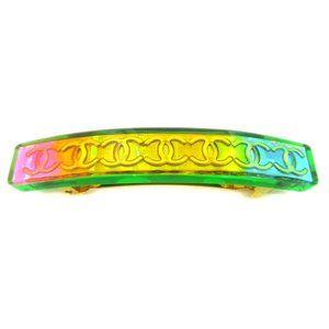 CHANEL CC Logos Hair Clip Hairpin Barrette Rainbow